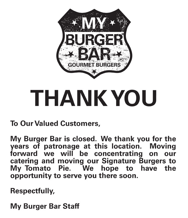 Burger Bar is Closed :(